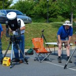 5 club members setting up at the June 2012 Venus Transit