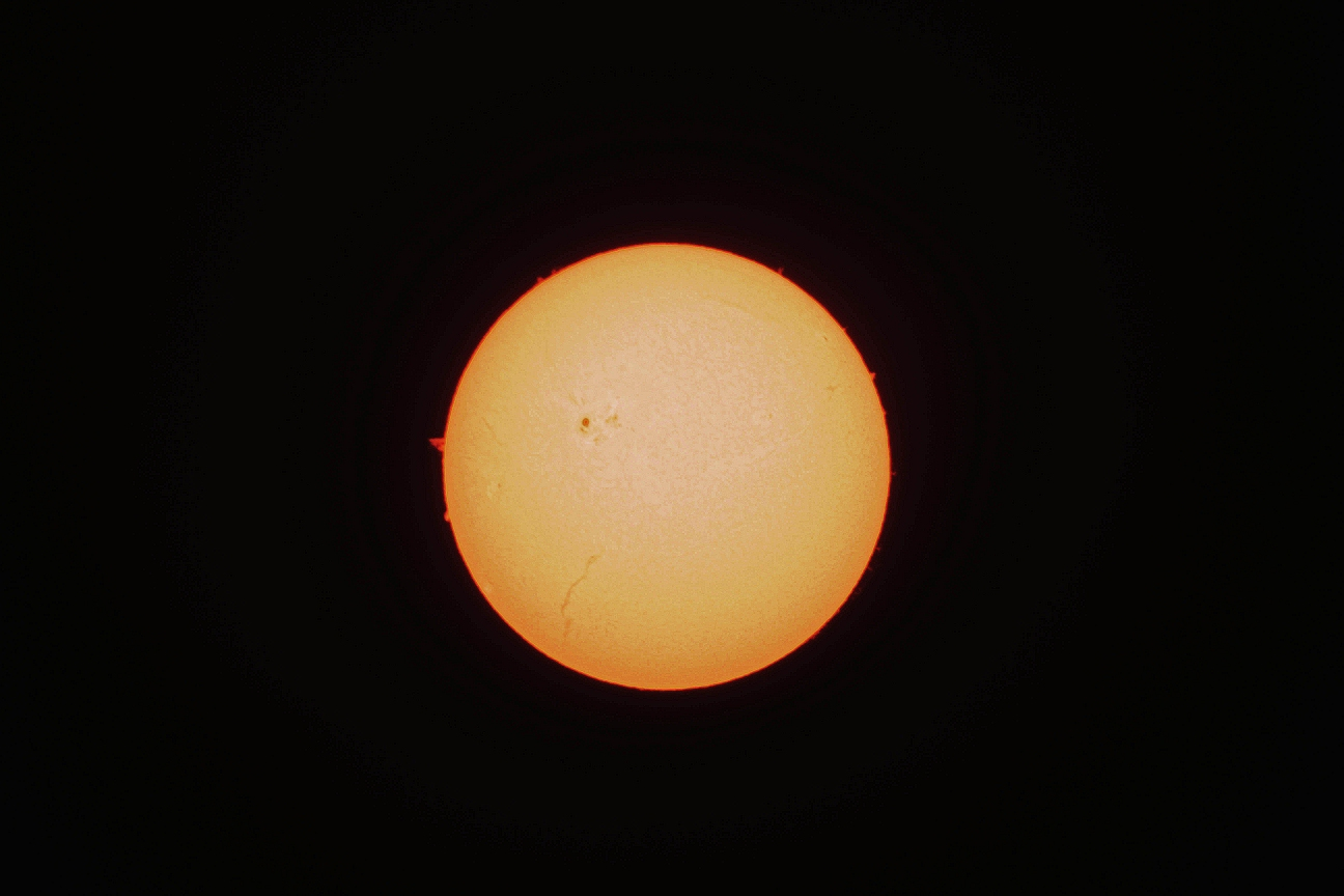 Sun through H-alpha filter