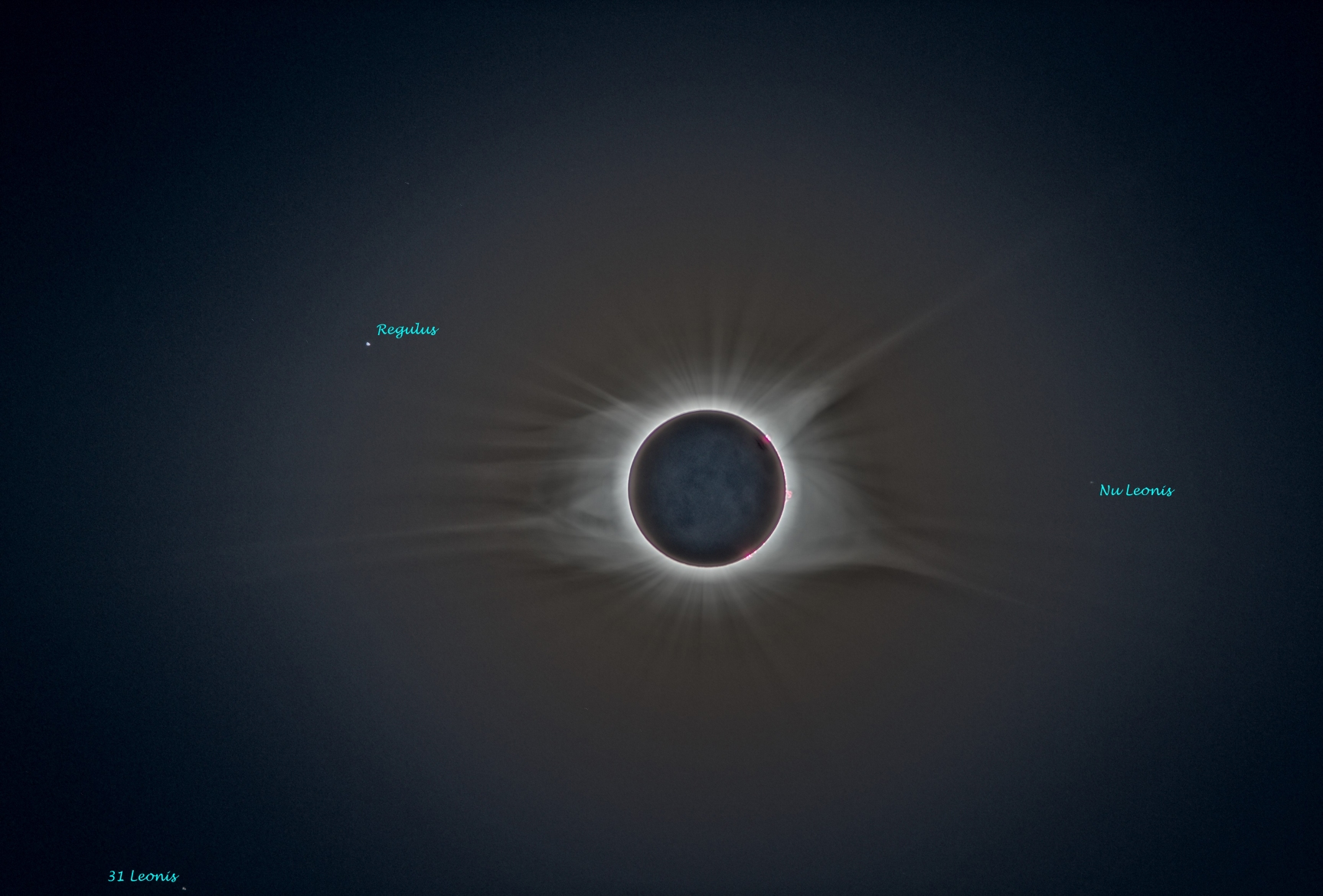 Total Solar Eclipse with labels