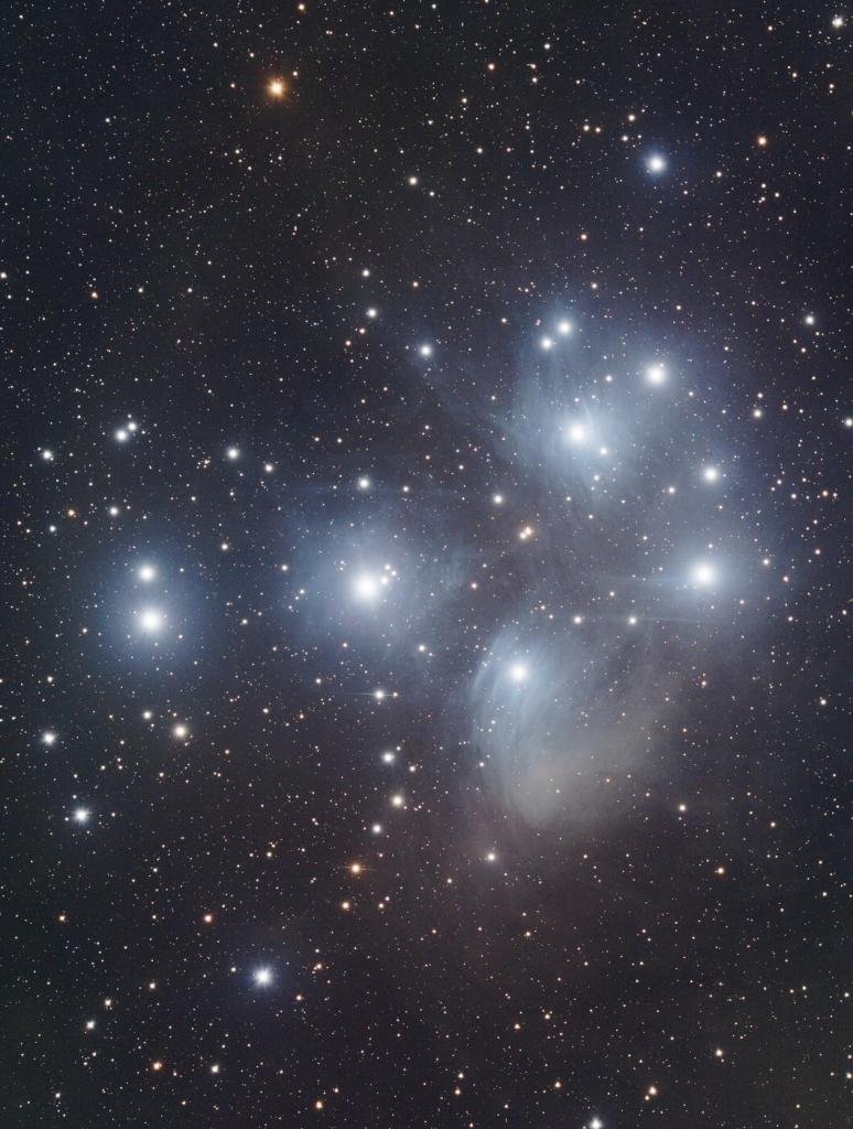 "M45, The Pleiades, sometimes called ""the seven sisters."" Photo by club member and President, Knox Worde."